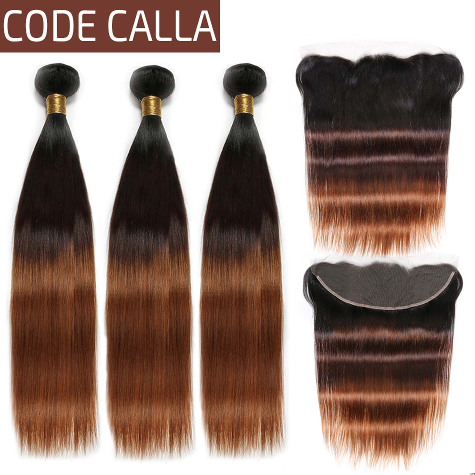 Code Calla Ombre Color Straight Hair Bundles With 13*4 Lace Frontal Ear To Ear 100% Brazilian Remy Human Hair Bundle Free Part