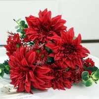 Dahlia grande de lujo ramo de Flores artificiales de seda para la decoración de la boda Mariage Babyshower flor blanca falsa