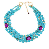 ZWPON Layered Natural Stone Purple Crystal Teardrop Choker Necklace for Women Oval Stone Bubble Bib Necklace Jewelry Wholesale