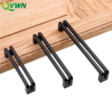 QVWN Zinc Alloy Black Cabinet Handles American style Kitchen Door Pulls Drawer Knobs Furniture Handle