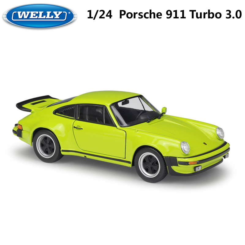 WELLY Diecast Vehicle 1:24 Classic Metal 1974 Porsche 911 Turbo3.0 Sports Car Toy Alloy Car Model Toy For Kid Gifts Collection