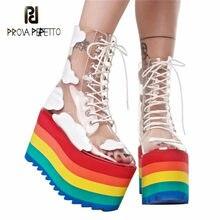 2021 arco-íris saltos femininos botas de alta plataforma meados botas para mulheres sexy transparência pvc rendas até sapatos de festa mulher barcos mujer