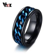 Мужское кольцо Спиннер vnox черное из нержавеющей стали с синей