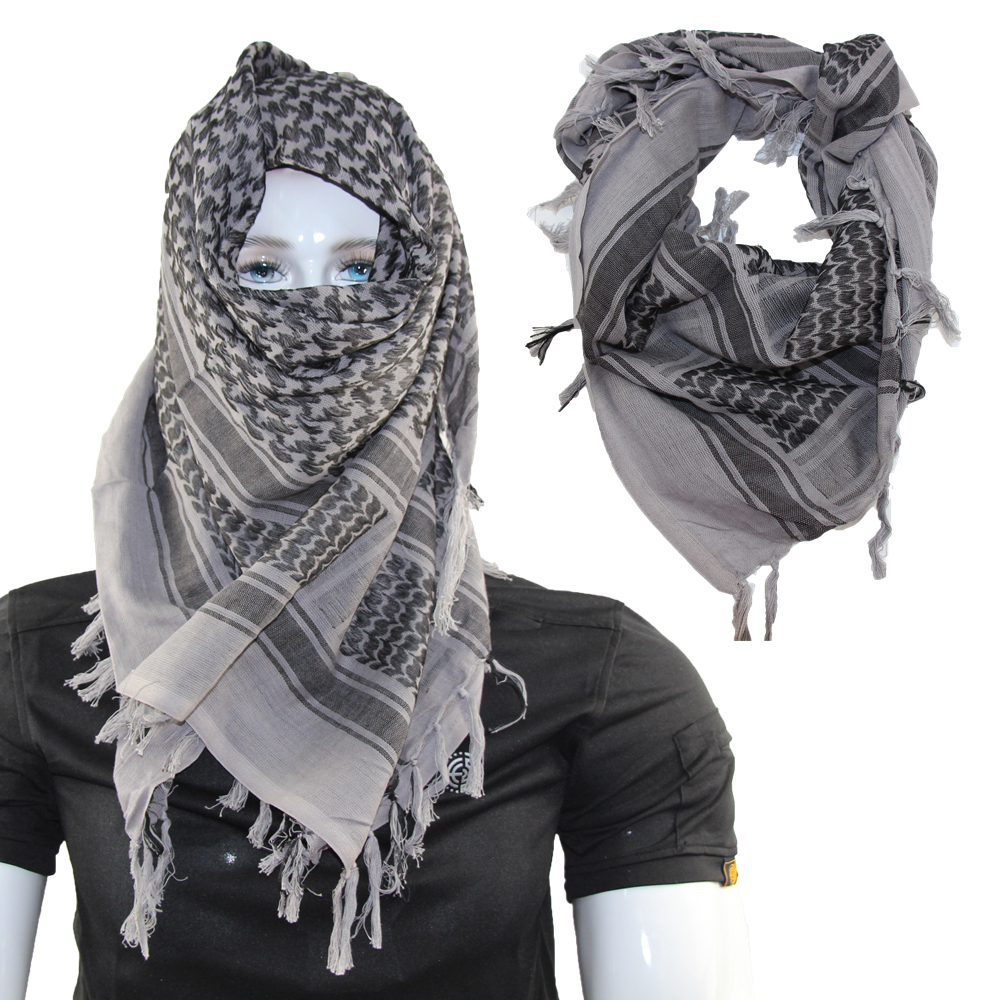 Womens Arab Shemagh Shawl Military Tactical Desert Wrap Scarf Head Tassels Neck