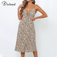 DICLOUD Women Floral Long Summer Sundress Bohemian Elegant Midi Party Dress Summer Sexy Backless Boho Beach Clothing Female(China)