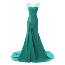 BGW Sexy V Neck Sleeveless Chiffon Pleat Tiered Mermaid Prom Dresses Lace Up Back Solid Color 2019(China)