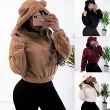 2019 New Arrivals Casual Long Sleeve Women Hoodies Solid Color Brown White Black Pullovers