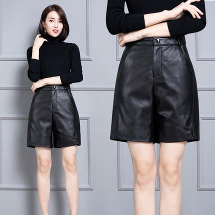 2020 Women New Real Genuine Sheep Leather Shorts KS59