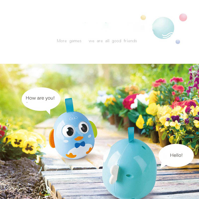 Cute Penguin Owl Tumbler Toy Baby Puzzle Tumblers Toy Built-In Bell Infant Early Learning Toys Baby Chew Roly-Poly Toy Xmas Gift