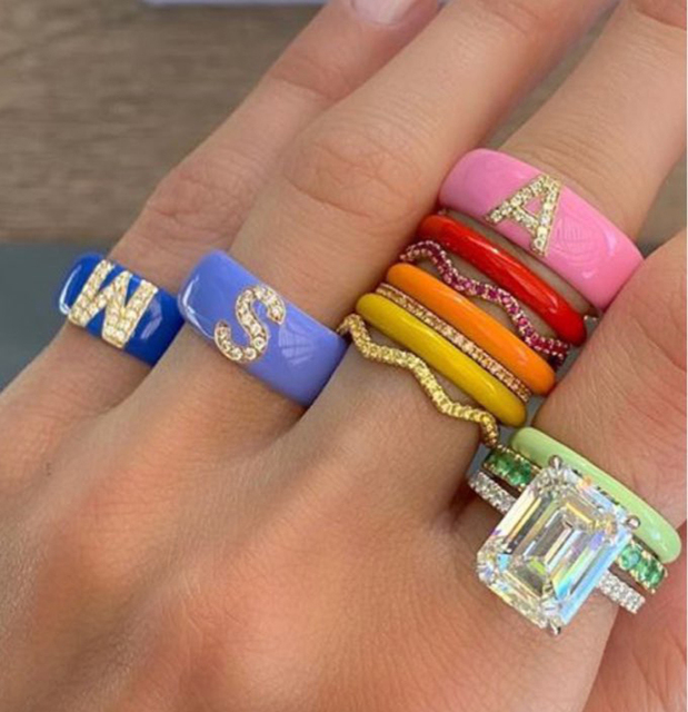 Hot sale colorful women's Initials A-Z letter finger rings for lady engagement band jewelry total initials 26 Alphabet set punk 1
