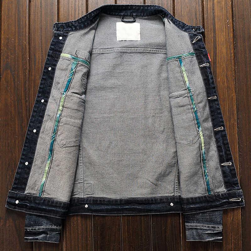 Kurtka jesienno-zimowa lokomotywa męska europejski amerykański projektant Slim Fit elastyczna męska jeansowa kurtka w motocyklowym stylu A212