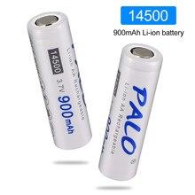 PALO 14500 bateria 3.7V 900mAh 14500 Bateria De Lítio Recarregável Li-ion para Lanterna LED bateria de acumuladores