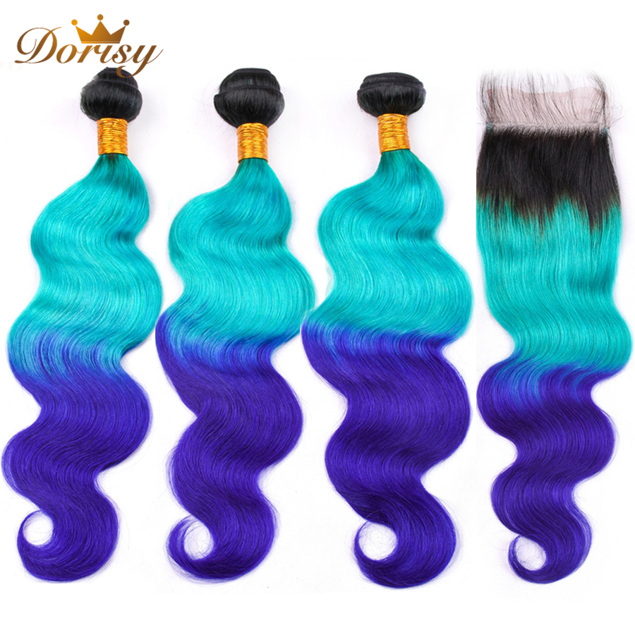 Pre Colored Body Wave Bundles With Closure T1b Green Blue Ombre Brazilian Human Hair Bundles With Closure Remy Extensions