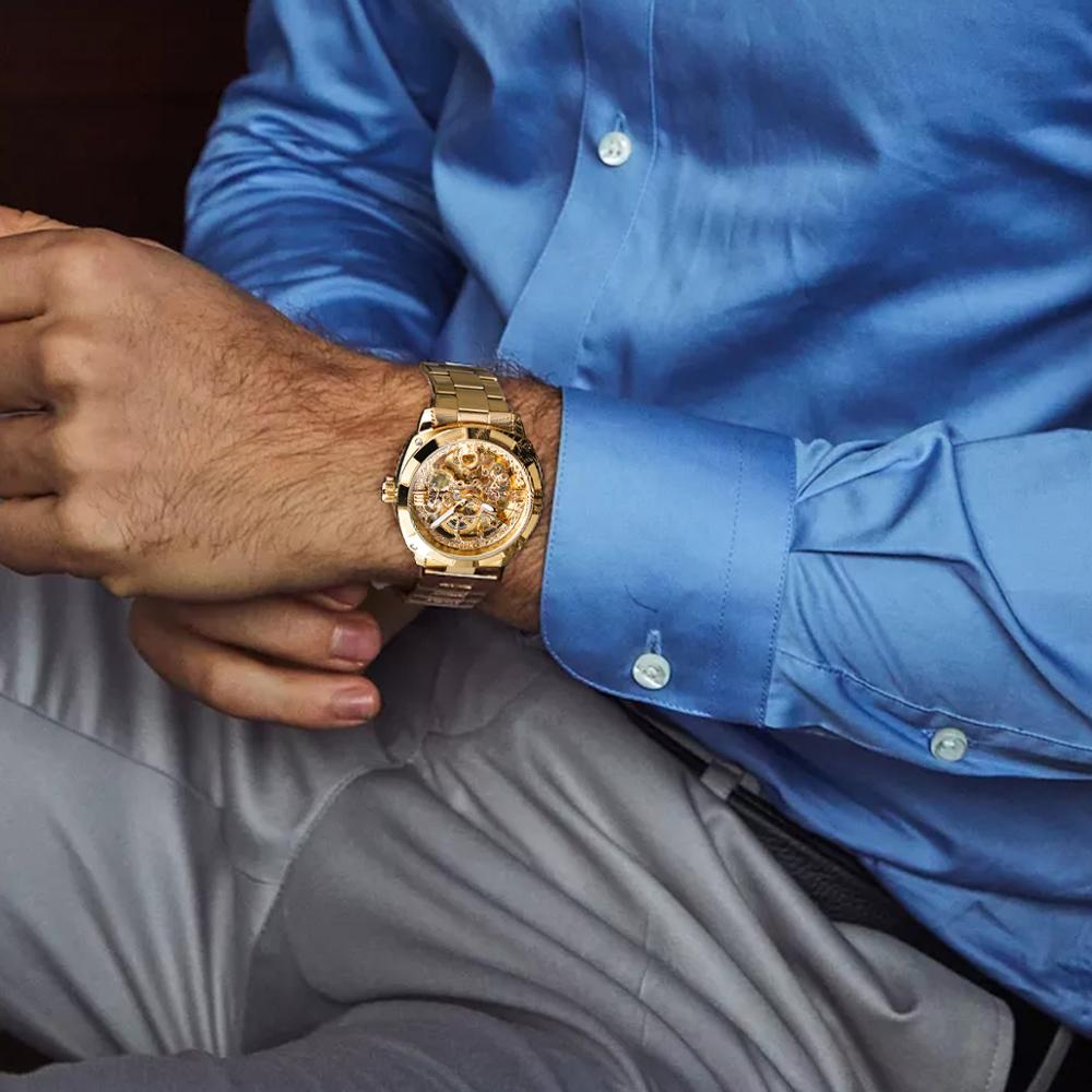 Forsining 2018 Fashion Retro Men s Automatic Mechanical Watch Top Brand Luxury Full Golden Design Luminous Forsining 2018 Fashion Retro Men's Automatic Mechanical Watch Top Brand Luxury Full Golden Design Luminous Hands Skeleton Clock