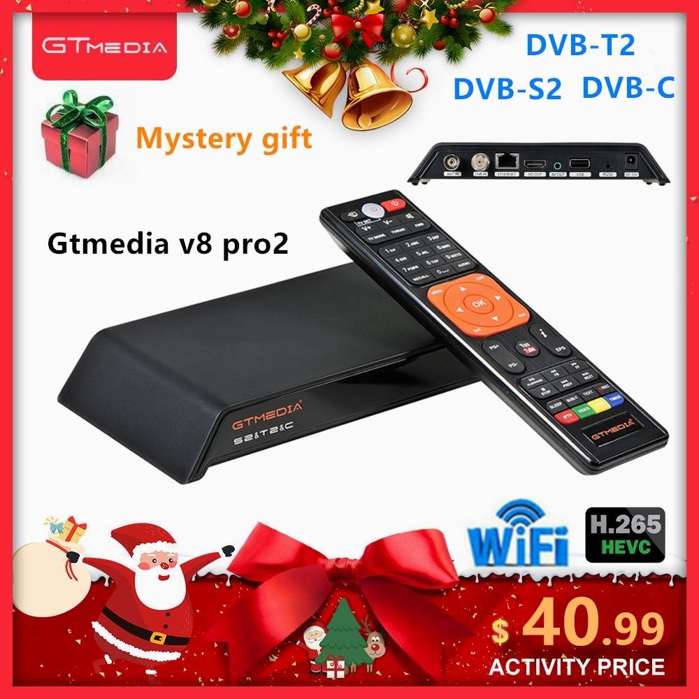 GT Media V8 Pro2 Tv Decoder DVB T2 DVB S2 DVB-C TV Receiver Built-in WIFI Vs Freesat V8 Nova Dvb-t2 H.265 Set Top Box With Cccam
