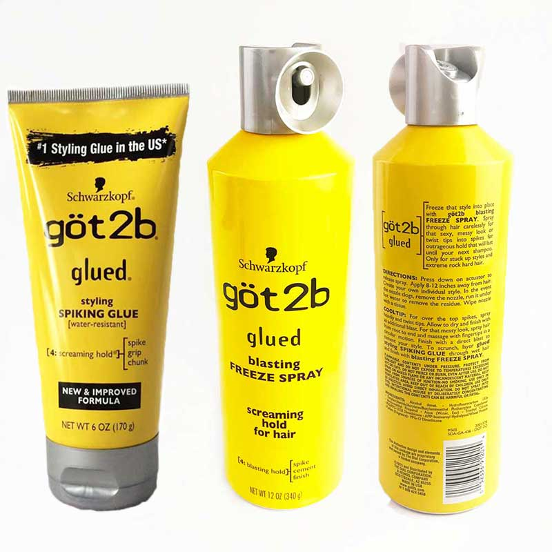 Got 2b Spray Human Hair Styling Gel Got2b Spray Glued 12 Oz / 6 Oz Freeze Spray Ultra Glued Invincible Styling Hair Gel 1.25oz