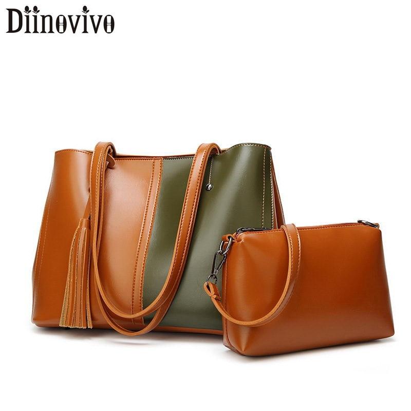 DIINOVIVO Panelled Designer Women Bag Set Tassel Tote Bags For Leather Handbag Female Shoulder Composite WHDV1238