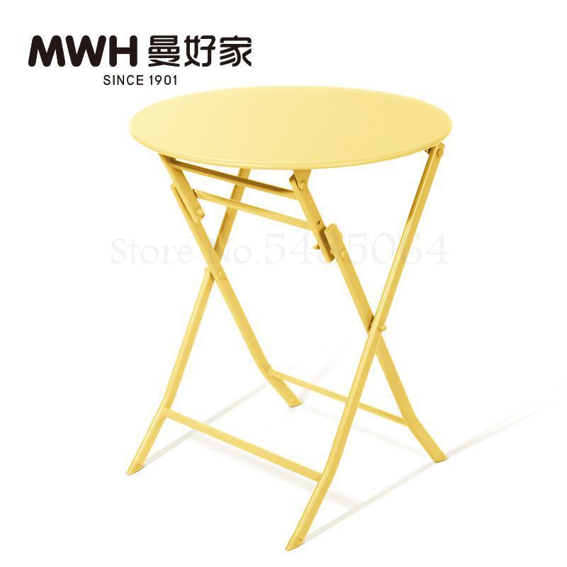 Железный маленький стол, складной небольшой квадратный стол, простой маленький круглый стол, журнальный столик для спальни, маленький обеденный стол для балкона - Цвет: Sparks Fy 2