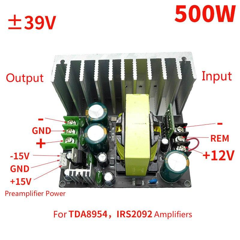 Amplificador de fuente de alimentación para TDA8954 Amp DC12V a ± 39V de tensión auxiliar ± 15V preamplificador Uso de 500W