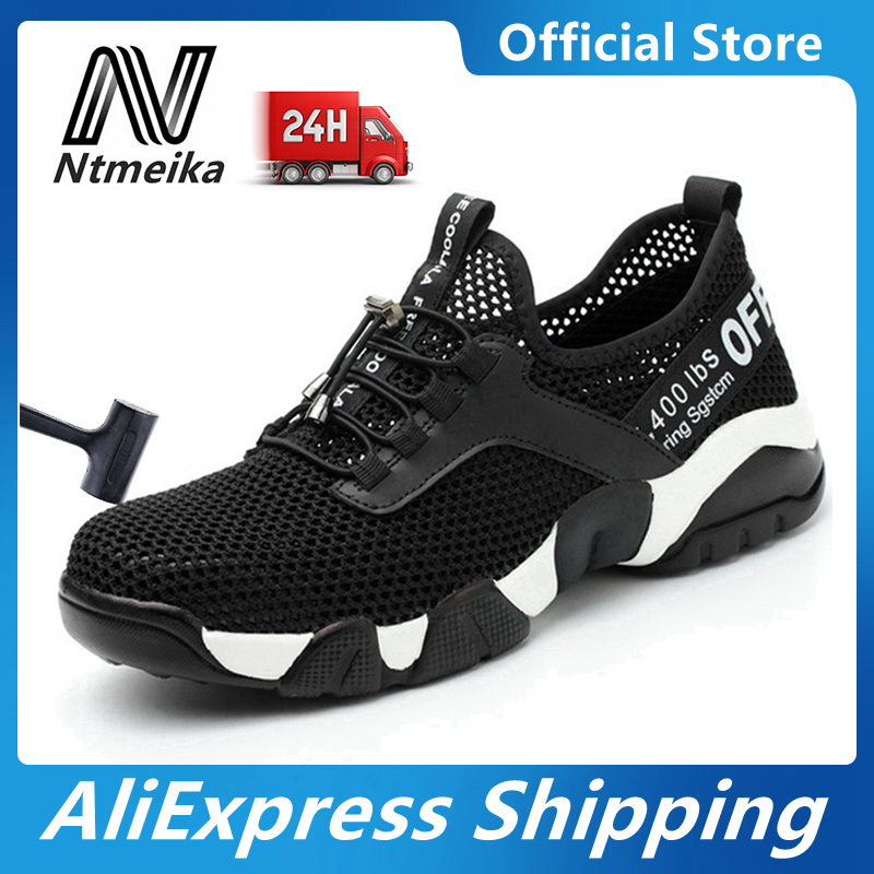Summer Safety Shoes Men Steel Toe Work Boots Breathable Safety Sandals Work Shoes Construction Protective