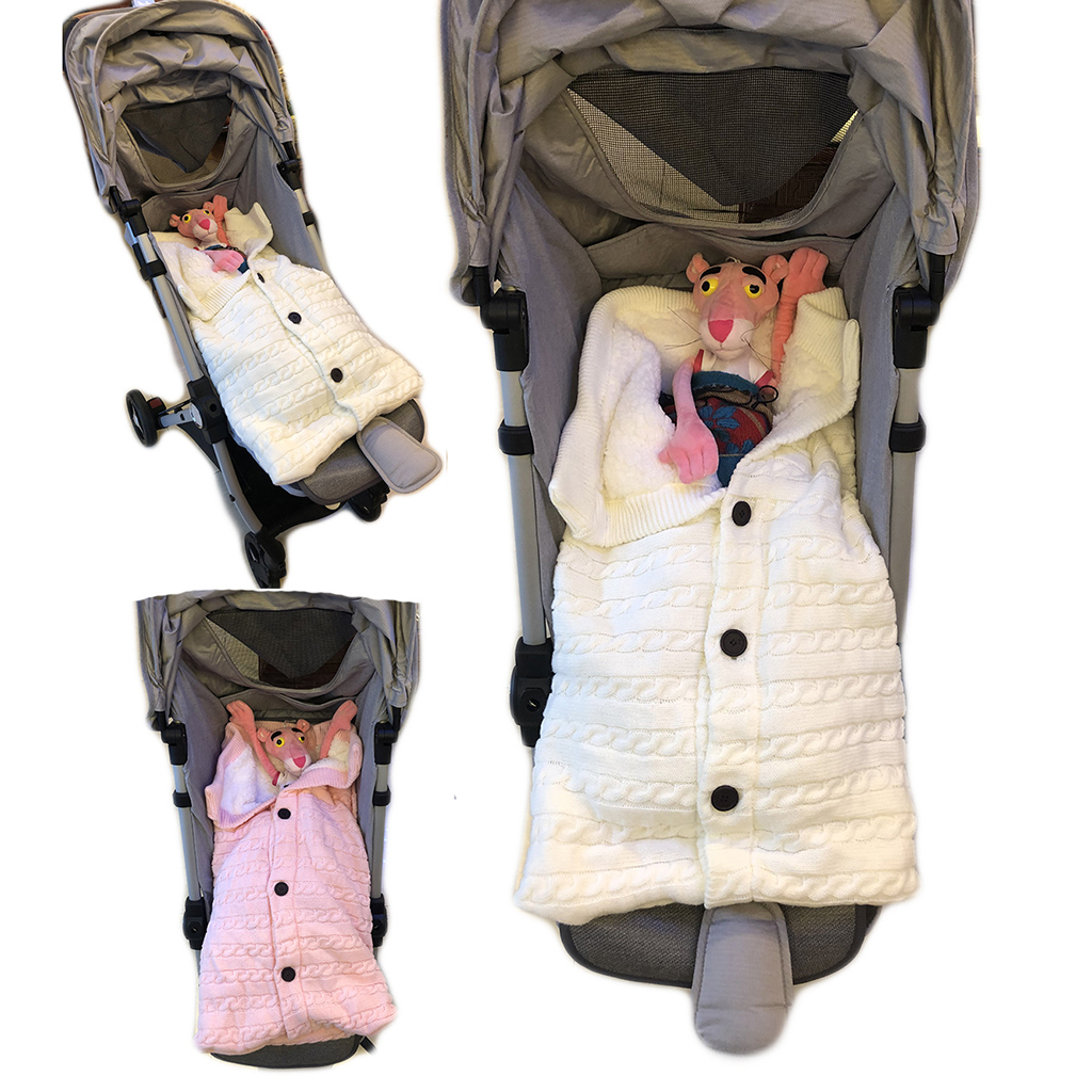 Baby Stroller Knit Swaddle Wrap Swaddling Blanket Sleeping Bag