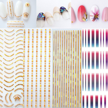 Gold 3D Nail Sticker Curve Stripe Lines Nails Stickers Gradient Adhesive Striping Tape Nail Foil Nail Art Stickers Decals Silver 1pcs nail decal and sticker gold silver metal curve strip lines adhesive striping tape multi size 3d stickers nail art diy decor