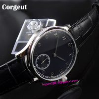 44mm Corgeut watch black sterile dial with silver sub dial stainless steel case 6498 Mechanical Hand Wind men's watch P186|dial test indicator holder|dial mirrordial -