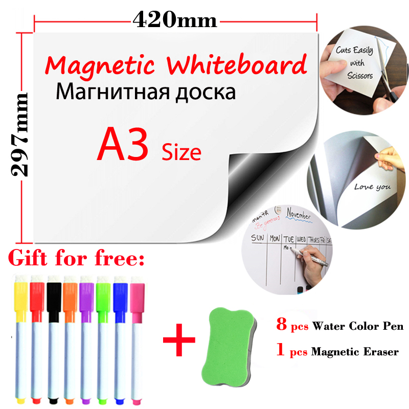 Magnetic WhiteBoard A3 Size Fridge Stickers Dry Erase White Boards Magnet Board Office School Kids Drawing Board Wall Stickers