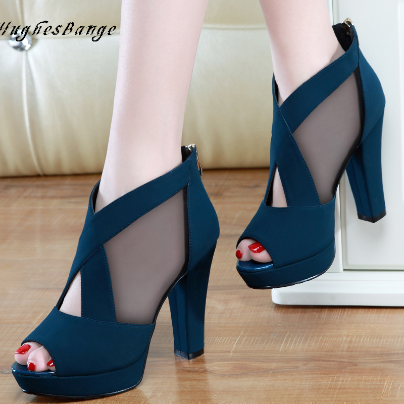 Shoes For Women High Heels High Fashionsandals Summer New Sexy Fish Mouth Wedge Heel High Heel Net Korean Wild Sexy Open Toe