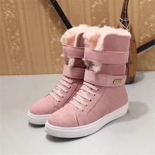 Mi mollet Femme Chaussures Femme hiver dames bottes Med talons Scarpe Donna Nubuck bottes de neige mode Botas Mujer rose
