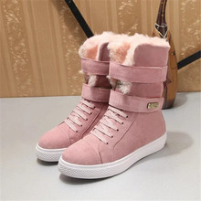 Mid Calf Women Shoes Chaussures Femme Winter Ladies Boots Med Heels Scarpe Donna Nubuck Snow Boots Fashion Botas Mujer Pink