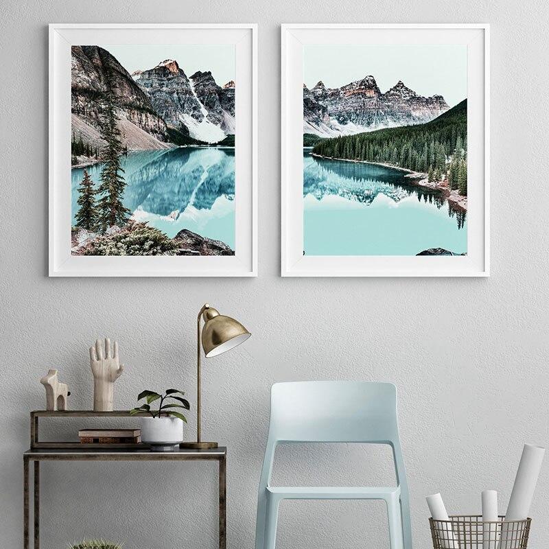 Современный горный снег озеро лес природные пейзажи холст искусство живопись украшение дома постер и печать картина для гостиной