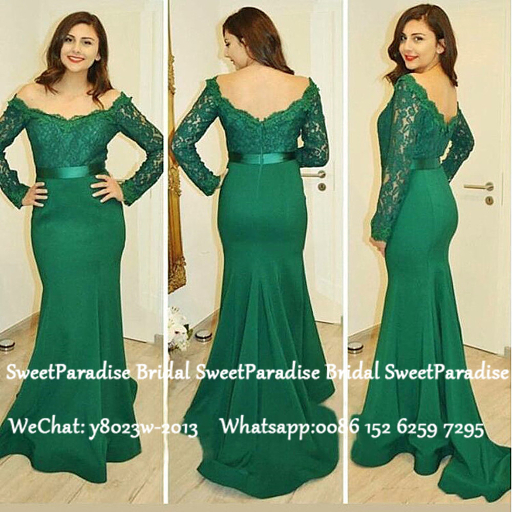 Green Lace Off Shoulder Bridesmaid Dresses With Long Sleeves Mermaid Vestido Madrinha Long Wedding Guest Dress For Women