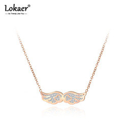 Lokaer Stainless Steel Angel Wings Pendant Necklaces Jewelry Rhinestone Rose Gold Chain Chokers Necklace For Women Girls N19009