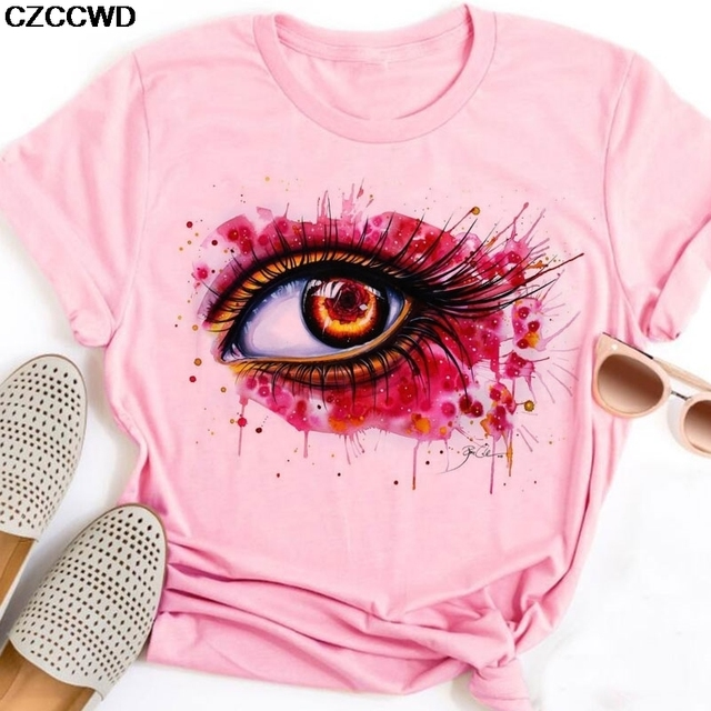 Camiseta de verano para Mujer, camisetas divertidas con estampado de labios de colores brillantes, camisetas de manga corta, camisetas para Mujer con gráfico rosa, camisetas Harajuku 2