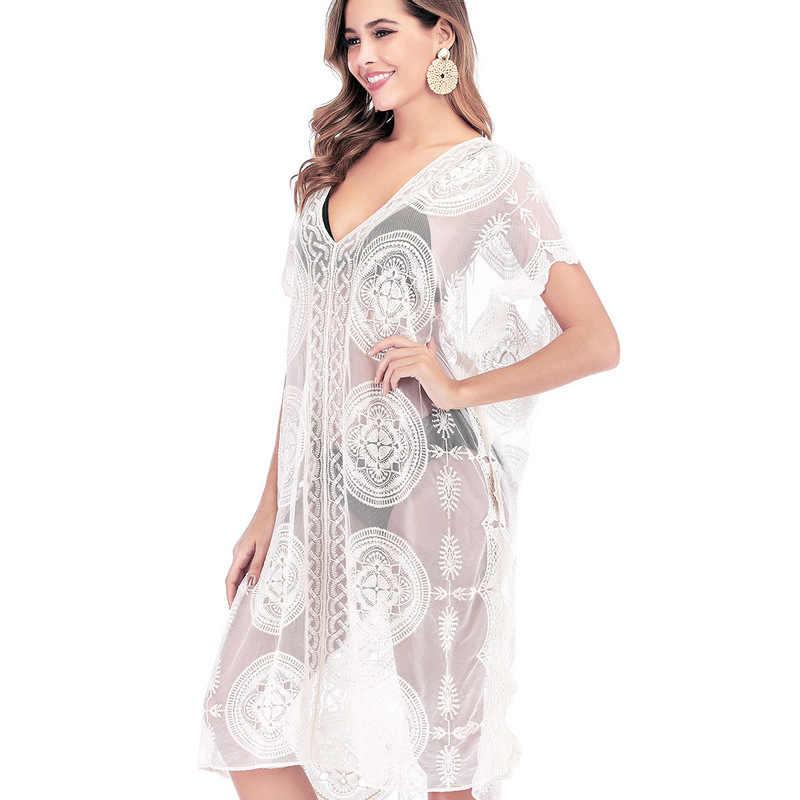 Playa falda vestidos de abrigo bata abrigo traje de baño mujeres cubrir precios nuevo círculo bordado ropa trajes Spot