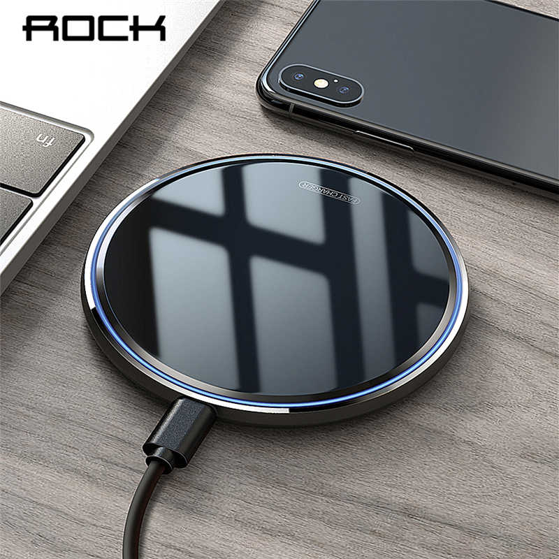 ROCK 10W Qi Wireless Charger For iPhone X XS Max XR 8 Plus Mirror Fast Wireless Charging Pad For Samsung S9 S10 Note 9 8