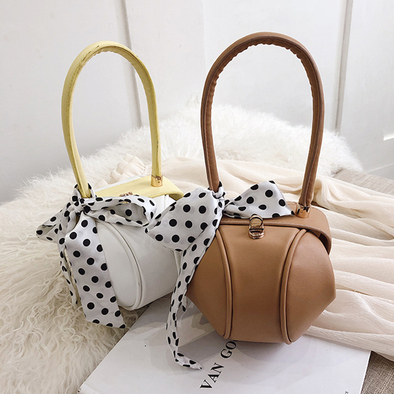 Retro Scarf Small Round Bags Women Handbags Famous Brands Small Wrist Bag High Quality Ladies Tote Fashion Dinner Party Purses in Shoulder Bags from Luggage Bags