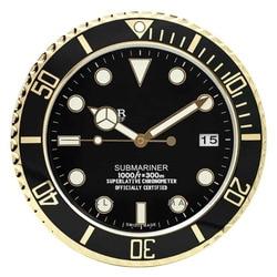 Luminoso Orologio Da Parete Orologio Da Parete per la casa Logo con Data di Lusso del Metallo Orologi Da Parete Complementi Arredo Casa Grande Moderna Vintage orologi