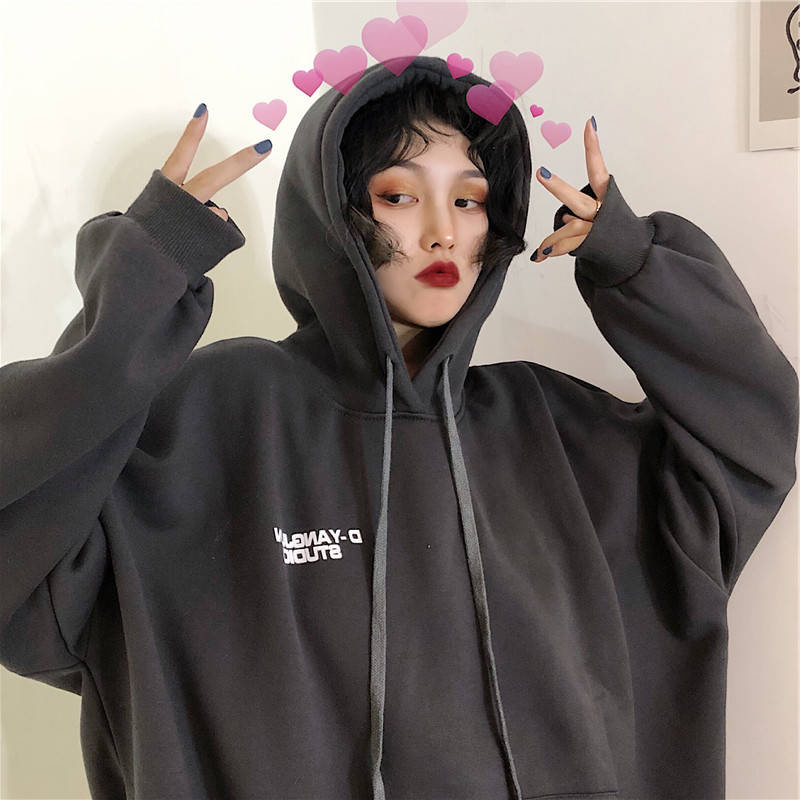 2019 Autumn New Korean Style Letter Embroidery Top Loose Hoodie Fashion Pullover Long Sleeve Clothes Hip Hop Casual Sweatshirt