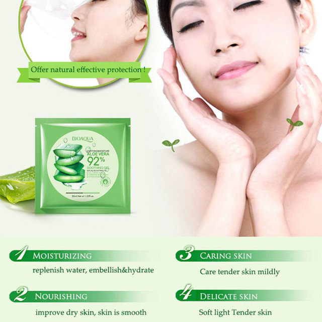 Natural Aloe Vera Collagen Face Mask Anti-aging Moisturizing Whitening Facial Mask Beauty Face Care Product Soothing Gel 4