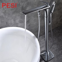 Cromo floorstanding torneira da banheira conjunto de cerâmica lidar com chão montado garra pé banheira misturadores swive bico brasstub torneira.