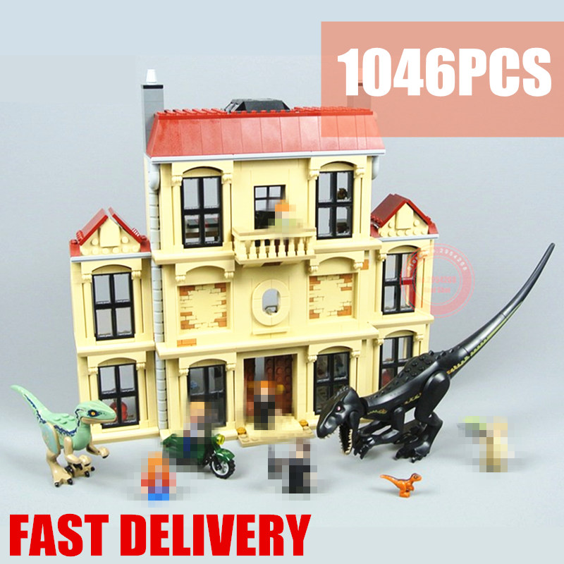 New 10928 Indoraptor Rampage at Lockwood Estate house Jurassic World city figures Building Block Brick Toy