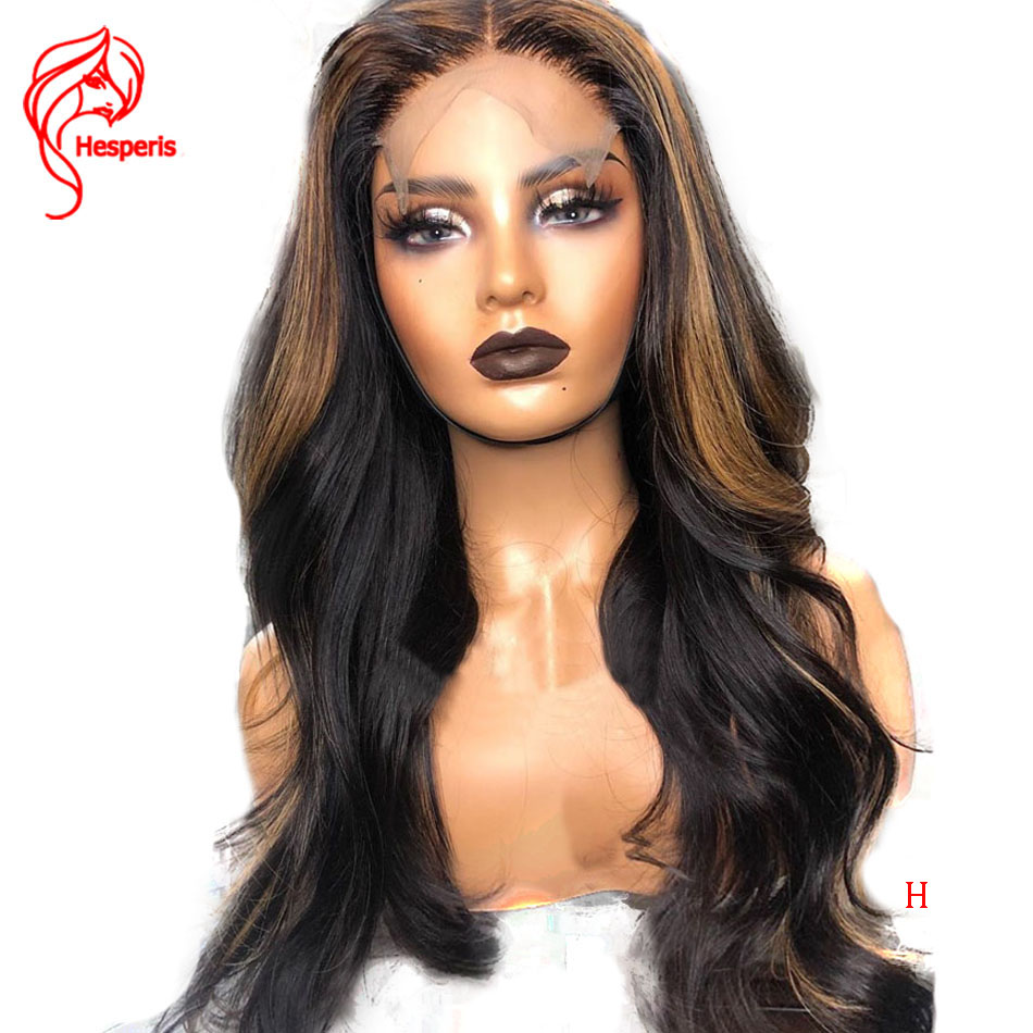 Hesperis Brazilian Remy Hair 13x6 Lace Front Wig Wavy Ombre Blonde Highlights Colored 130% Density Middle Part Pre Plucked