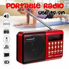 プレミアム充電式ミニポータブルハンドヘルド K11 ラジオ多機能デジタル fm usb tf MP3 プレーヤースピーカーデバイス用品新