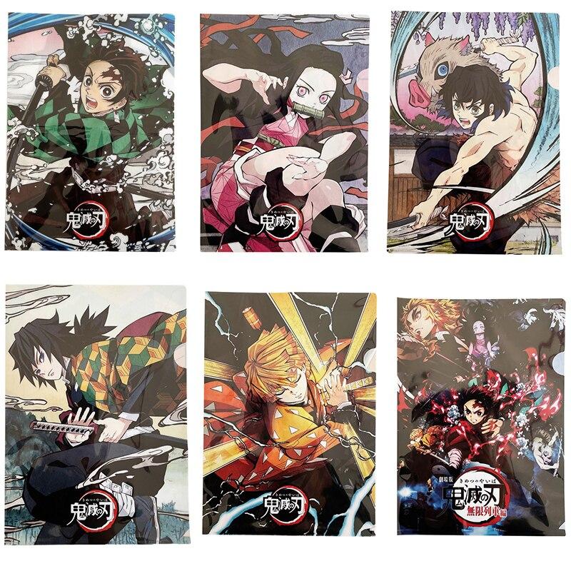 Anime Demon Slayer Kimetsu No Yaiba Kamado Tanjirou A4 Storage File Folder PVC School Office Paper Document Holder L Shape