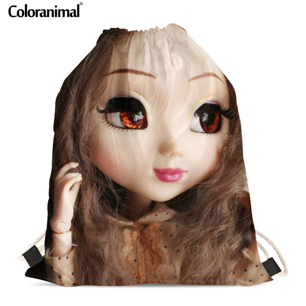 Coloranimal New Drawstring Bags Cute Dolls Design Kids Gift Backpack For Ladies Little Girls Soft Beach Bag Travel Bags