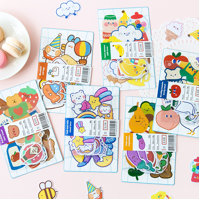 Cute Floppy Dropsy Series Journal Decorative Stickers Scrapbooking Stick Label Diary Stationery Album Fruit Bread Cat Stickers