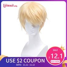 L email peruk Seraph son Mikaela Hyakuya Cosplay peruk sarışın kısa düz erkekler Cosplay peruk isıya dayanıklı sentetik saç