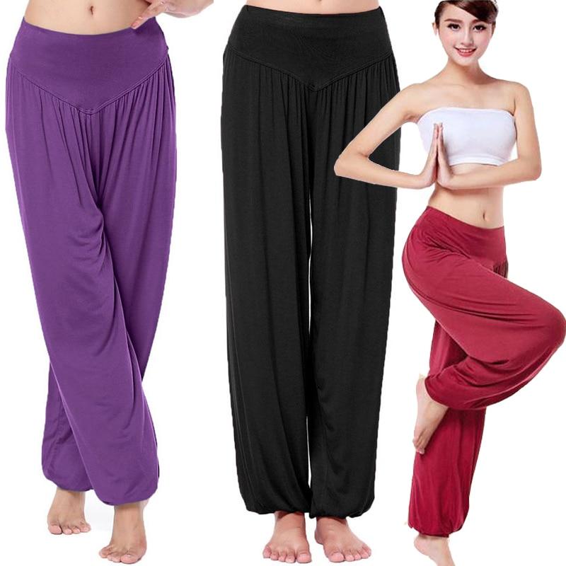 Свободные женские длинные штаны-шаровары Yuga, Модальные танцевальные брюки, повседневные Свободные мешковатые широкие брюки для танца живо...